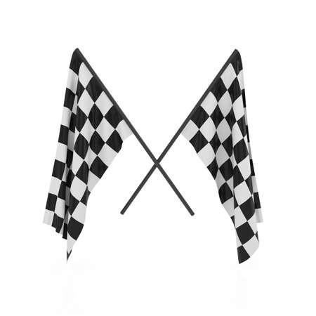 bandera carrera: 3d rinden de las banderas del corrector aisladas sobre fondo blanco