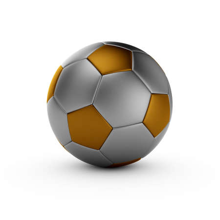 3d render of gold soccer ball isolated on white background photo