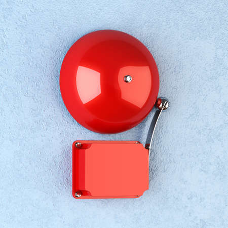 wall mounted: 3d render of red retro alarm on blue wall Stock Photo