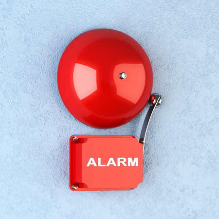 3d render of red retro alarm on blue wall photo