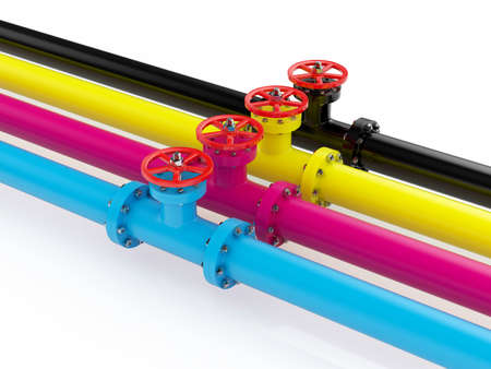 3d render of cmyk pipelines isolated on white background photo