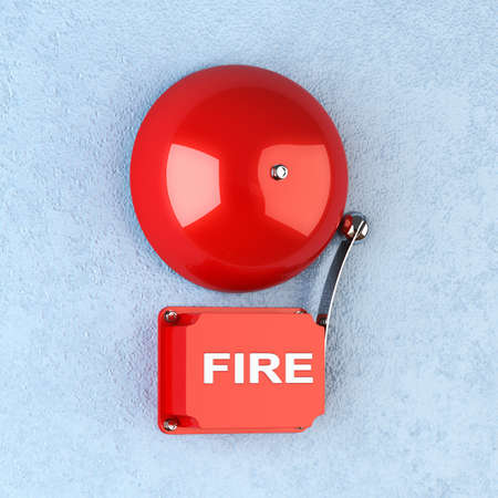 3d render of red retro fire alarm on blue wall photo
