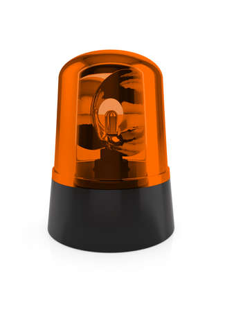 3d render of orange flashing light on a white background  photo