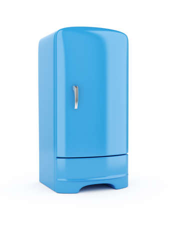 frig: 3d render of blue refrigerator, isolated on white background