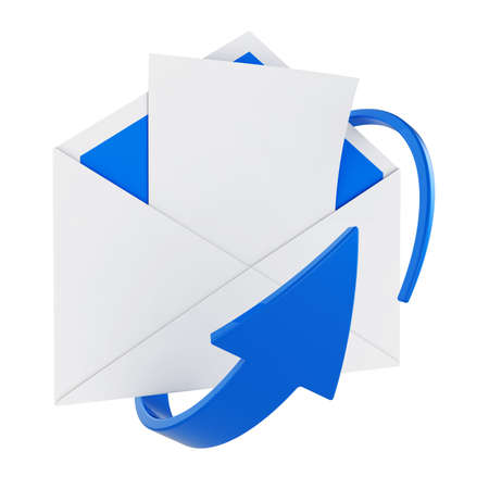3d illustration of opened mail envelope with blank letter and blue circular arrow  illustration