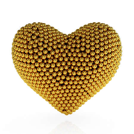 shiny hearts: 3d heart from the golden spheres on white background