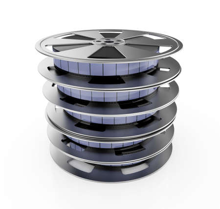 3d illustration of film reel stack isolated on white background illustration