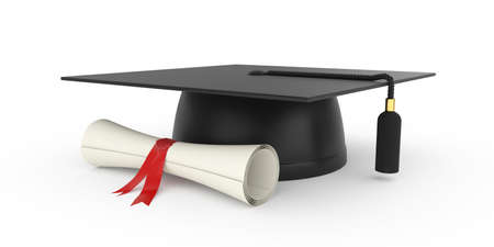graduation ceremony: 3d illustration of graduation cap with diploma  Isolated on white background