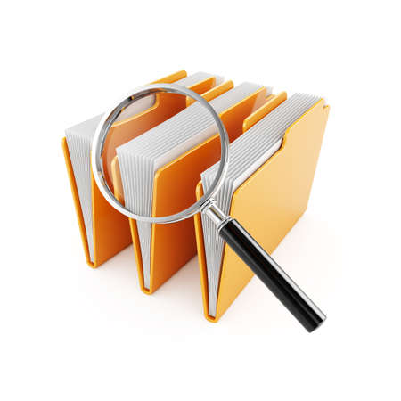 magnification: 3d illustration of computer folders with magnifier glass Stock Photo