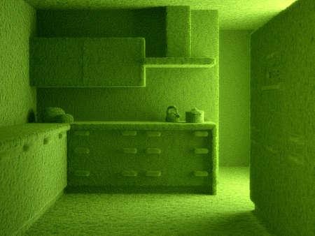 render residence: 3d render of green grass kitchen concept