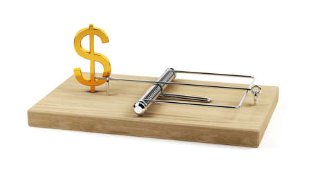 mantrap: 3d illustration  of mouse trap with dollar sign isolated on white background