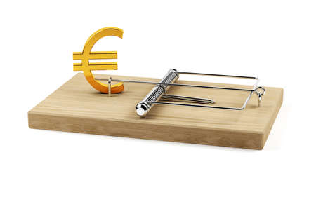 mantrap: 3d illustration  of mouse trap with euro sign isolated on white background