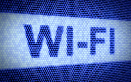 3d render of WI-FI concept on blue screen photo