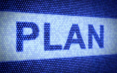 3d illustration of plan text on computer screen illustration