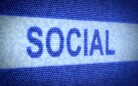 socialize: 3d illustration of social text on computer screen Stock Photo