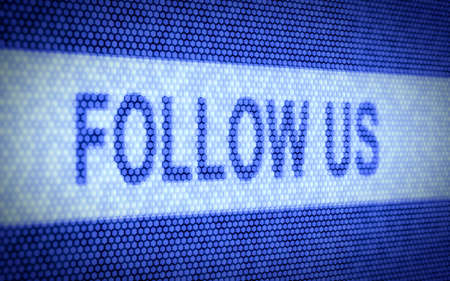 follow us: 3d illustration of follow us text on computer screen Stock Photo