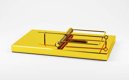 captivity: 3d illustration of golden trap