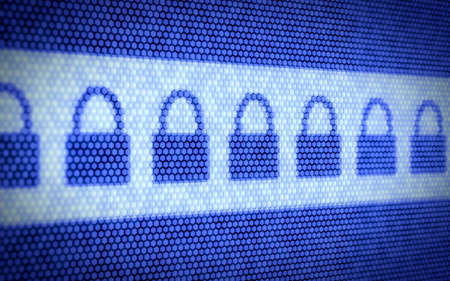 개인 정보 보호: 컴퓨터 화면의 잠금 개념의 3d 그림