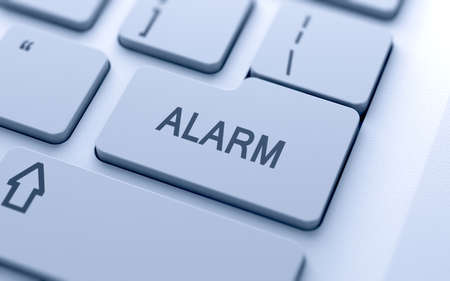 shield bug: Alarm button on keyboard with soft focus Stock Photo