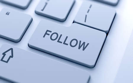 Follow button on keyboard with soft focus Stock Photo - 14747349