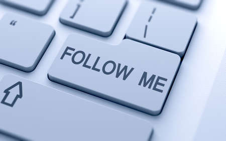 follow me: Follow me button on keyboard with soft focus