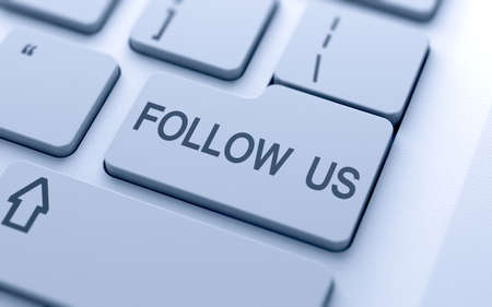 follow us: Follow us button on keyboard with soft focus