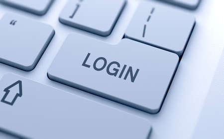 login button: Login button on keyboard with soft focus