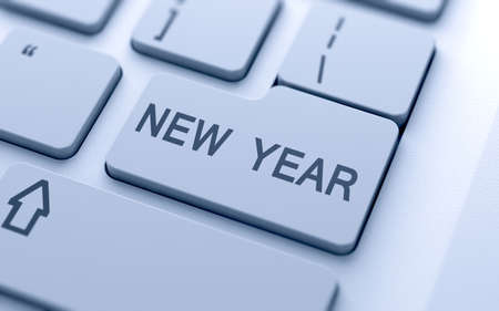 New Year button on keyboard with soft focus photo
