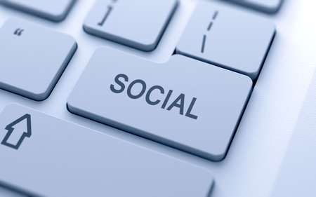 Social media button on keyboard with soft focus Stock Photo - 14747346