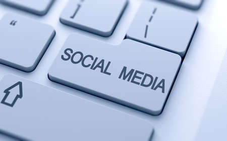 Social media button on keyboard with soft focus Stock Photo - 14747361