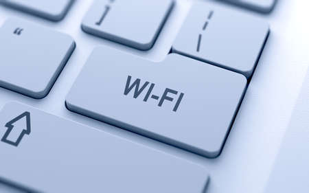 wi fi icon: WI-FI button on keyboard with soft focus