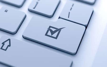 Häkchen-Taste auf der Tastatur mit weichen Fokus