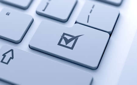 Vinkje knop op het toetsenbord met zachte focus