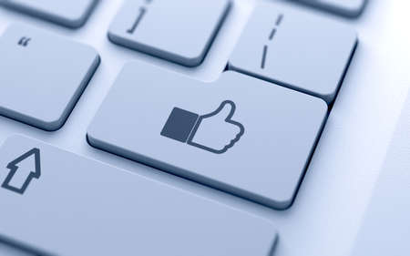 Like sign button on keyboard with soft focus photo