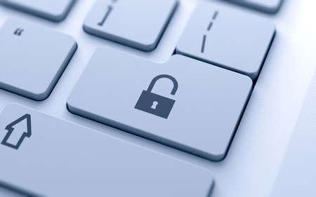 password: Ilustración 3D de botón de bloqueo concepto en el teclado con enfoque suave Foto de archivo