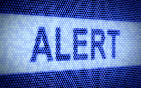 3d illustration of alert text on computer screen illustration