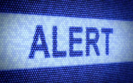 alerta: 3d ilustración de texto de alerta en la pantalla del ordenador