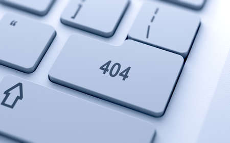 find fault: 404 code button on keyboard with soft focus  Stock Photo