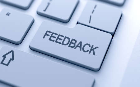 customer survey: Feedback button on keyboard with soft focus  Stock Photo