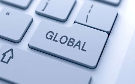 Global button on keyboard with soft focus Stock Photo - 15203109