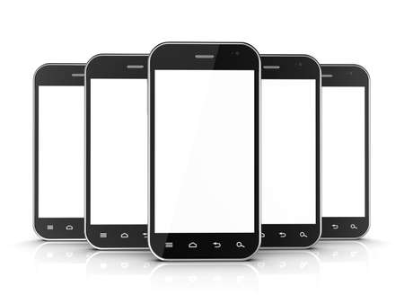 Group of black smartphones isolated on white background. 3d illustration illustration