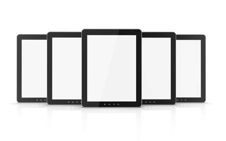 Group of black tablet pc isolated on white background. 3d illustration Stock Illustration - 15203119
