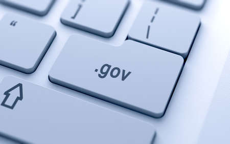 gov: Domain name button on keyboard with soft focus Stock Photo