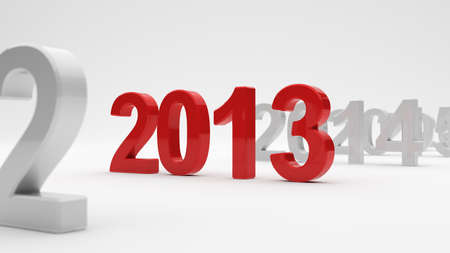 3d illustration of 2013 year on white background. Soft focus illustration