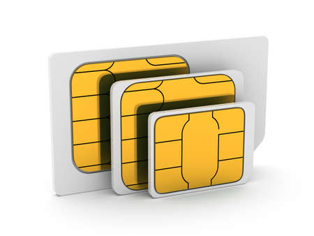 sim: 3d illustration of set mini, micro and nano simcard. Isolated on white background
