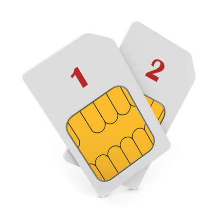 sim: 3d illustration of double phone SIM cards isolated