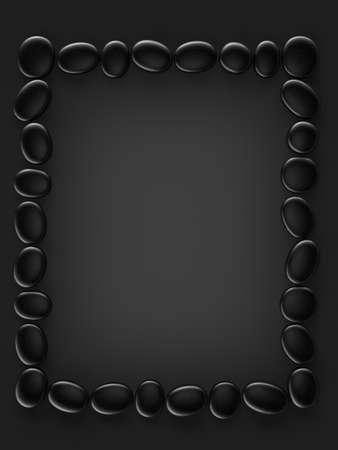 shiny black: 3d illustration of zen stone frame on black background Stock Photo