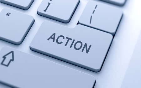 take action: Action button on keyboard with soft focus