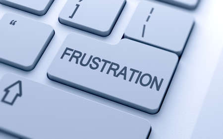 Frustration button on keyboard with soft focus  photo