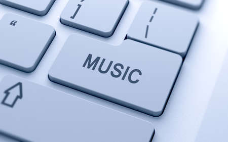 3d music text sign button on keyboard with soft focus  photo